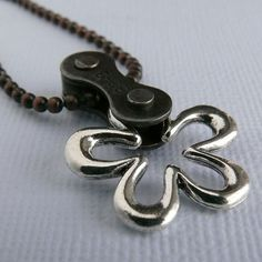 cycling bicycle chain flower necklace bike by WanderingJeweler, $25.00