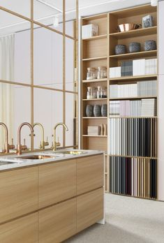 Soft colour palette in the Helsinki-based showroom of Storage Shelves, Shelving, Ikea Showroom, Ikea Cabinets, Helsinki, Soft Colors, Scandinavian Design, Wardrobes, Storage Solutions