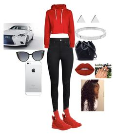 """Red luxury"" by imayababy ❤ liked on Polyvore featuring H&M, Puma, Lacoste, Jennifer Meyer Jewelry, Michael Kors, Lime Crime and Fendi"
