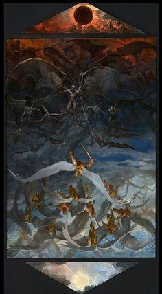 Bildresultat för batman vs superman demons and angels painting
