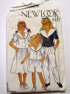 New Look 6117 1980s Girls Sailor Shirt Jacket by NormasTreasures