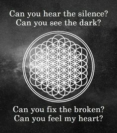Can you hear the silence? Can you see the dark? Can you fix the broken? Can you feel my heart? - Bring Me The Horizon