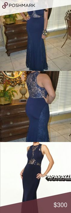 Mori Lee Paparazzi prom/ wedding gown. Beautiful Navy Blue Mori Lee Paparazzi. Stretch Lace & Jersey evening gown with side zipper. Only worn once and in very good condition. Very comfortable and can stretch. Dresses Prom