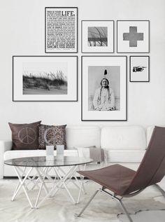 Art above white sofa. Black and white photo art. www.desenio.se