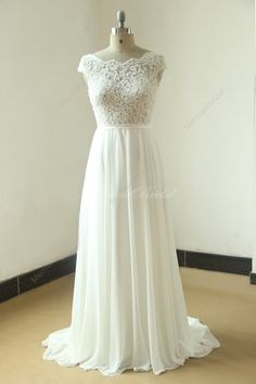 038bd8fee77 Ivory A line chiffon see thru sheer lace wedding dress with scallop back