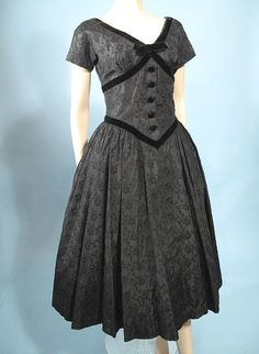 1950's Abe Schrader Black Taffeta Brocade Cocktail Dress
