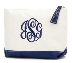 Monogrammed Canvas Cosmetic Bag - BeauJax Boutique There's nothing like the simple elegance of a monogrammed, cotton canvas cosmetic bag!  This navy bag is just waiting for your personalized style.  Choose your favorite monogram font and thread color. www.beaujax.com