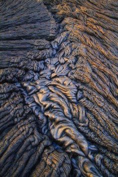 Pahoehoe basalt in a section over the lava tube
