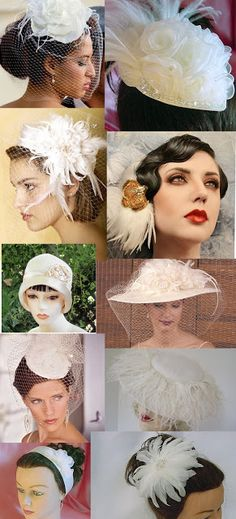 Weddingzilla: Vintage Wedding Inspiration Board VIntage Hats, Fascinators & Headpieces