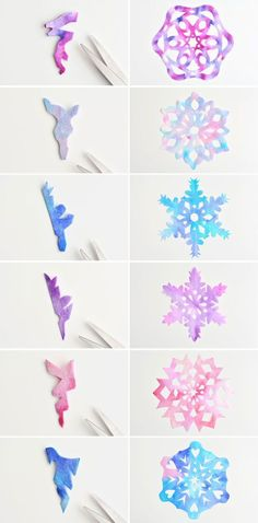 How to Make Coffee Filter Snowflakes Paper Snowflakes Template. These coffee filter snowflakes are so easy to make and they are SO PRETTY! This is such a fun winter craft idea! A great activity for a snow day at home but also simple enough for teachers to Snowflakes For Kids, Diy Christmas Snowflakes, Snowflake Decorations, Craft Decorations, Christmas Paper, Make A Snowflake, Making Paper Snowflakes, Christmas Decorations For Kids, Homemade Christmas