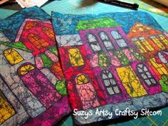 Making Batik Fabric with melted wax crayons- looks time-consuming but the results are worth it.
