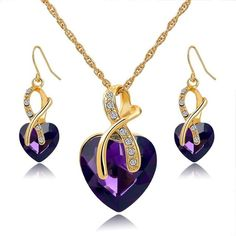 Crystal Heart Necklace And Earring Jewelry Set Mother's Day Gifts