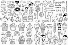 Big Set of Doodle Sweets clipartTea time clip art Dessert
