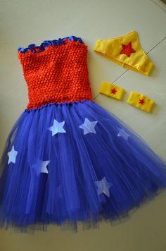 Superhero Lined Tu-tu dress, Crown and Cuff Bracelets Infant, Toddler and Girls. $48.00, via Etsy.