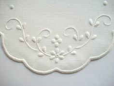 White Linen Doily White Work Hand by HandcraftedorVintage on Etsy