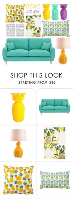 """""""Pineaplle Home Decor"""" by kikiseppr on Polyvore featuring interior, interiors, interior design, home, home decor, interior decorating, Urban Outfitters, Sunnylife, Fearne Cotton and Safavieh"""