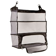 Packing and unpacking has never been easier than with the Deluxe Packable Shelves from Travelon. You can simply hang the shelves in your closet or over the back of a door.