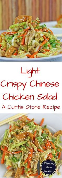 Lightly dressed Chinese Chicken Salad with grilled chicken, crunchy wontons, toasted almond and sprinkled with sesame seeds over a crunchy napa cabbage and carrot salad. Done in 15 minutes!