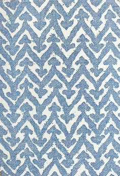 Rabanna Upholstery Fabric 100% Cotton upholstery fabric with large blue chevron on cream cotton.
