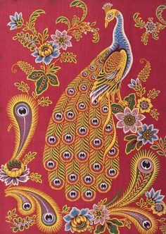 Sample of hand block printed cotton cloth with a large multicoloured peacock surrounded by flowers and stylised peacock tail feathers. Part of the Turkey Red Collection, totalling c. 40,000 items: Scottish, Dunbartonshire, by John Orr Ewing and Co., c. 1893.
