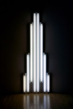 "Dan Flavin: ""Monument"" for V. Tatlin 1969 Cool white fluorescent light with fixture, edition x cm Dan Flavin, Hood By Air, Modern Art, Contemporary, Social Art, Light Effect, Neon Lighting, Box Art, Lamp Light"