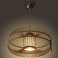 60W Modern Pendant Light with 1 Light in Bamboo Shade – AUD $ 315.39
