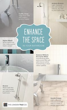 Increase the appearance of space in your bathroom with our handy tips. #bathroomtiles
