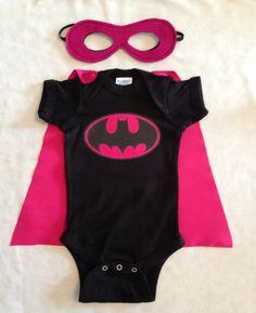 Batgirl Superhero Baby Onesie with Detachable by JustKidnDesigns, $29.00