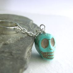 Turquoise+Skull+Cartilage+Earring+Stone+Ear+Cuff+by+cindylouwho2,+$9.00