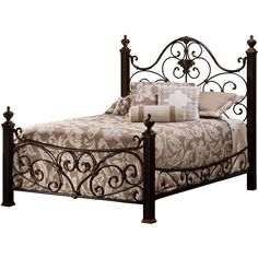 Mikelson Bed with Rails ($900) ❤ liked on Polyvore featuring home, furniture, beds, decor, black bed, distressed headboard, black headboard, black head board and black distressed furniture