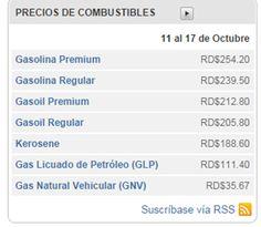Precio de los Combustibles para la semana del 11 al 17 de octubre, en la República Dominicana.
