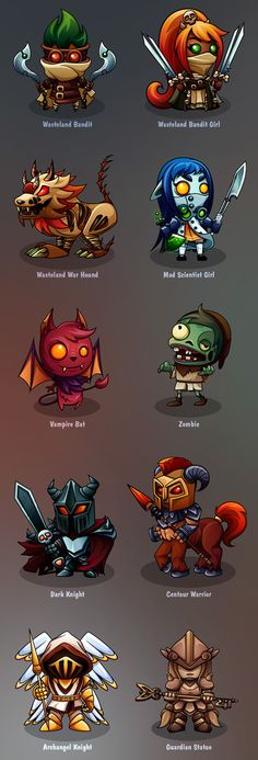 2d character design for mobile turn-based RPG. Static designs created in vector format.