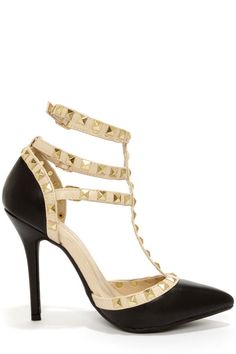 Black Studded T-Strap Pointed Heels