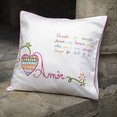 """Cushion with the #portuguese """"lovers"""" embroidery"""