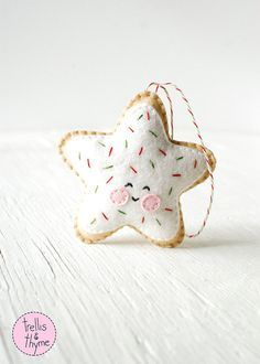 PDF Pattern - Sugar Cookie Star, Kawaii Christmas Ornament Pattern, Felt Softie Sewing Pattern, Felt Ornament Pattern
