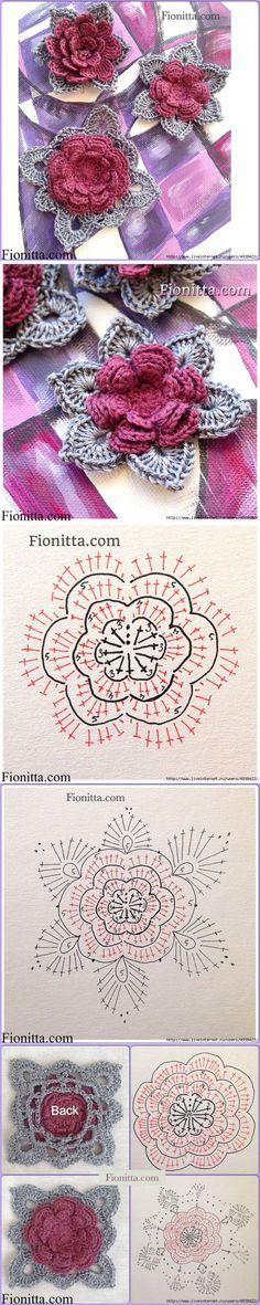 Цветы крючком от Фиониты. Четыре варианта вязания.