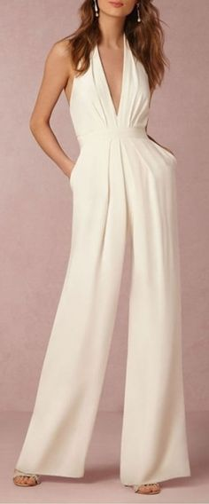 The halter pocket plain wide leg jumpsuit with sleeveless is a good choice of fashion in summer and it suits many formal occasions like fashion show, red carpet and so on. ,jumpsuit outfit work,how to wear jumpsuit,casual jumpsuit outfit fall Elegante Jumpsuits, Halter Jumpsuit, Jumpsuit Outfit, Bridal Jumpsuit, Sequin Jumpsuit, Casual Jumpsuit, White Jumpsuit, Homecoming Jumpsuit, Cocktail Jumpsuit