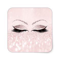 Shop Eyelash Extension Makeup Beauty Salon Pink Glitter Rectangular Sticker created by luxury_luxury.