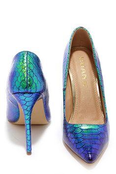 592b0207cb94 Ladies First Green Hologram Pointed Pumps at Lulus.com! Mermaid Heels