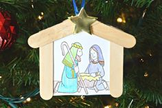 While the kids are getting excited for the big day, you can use this Kids Christmas Nativity Ornament to show them what the holiday is really all about. Kids Christmas Ornaments, Preschool Christmas, Christmas Nativity, Christmas Crafts For Kids, Christmas Art, Christmas Printables, Simple Nativity, Nativity Ornaments, Nativity Crafts
