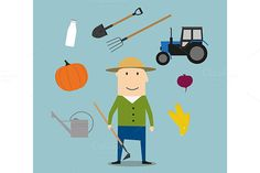 Farmer man and agriculture icons by seamartini on @graphicsmag