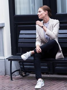 black-skinnies-adidas-sneakers-neutral-blazer-classic-fall-neutrals-via-afterdrk.com
