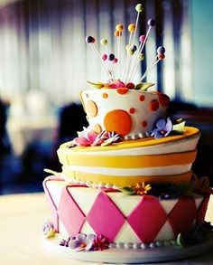 """I love """"mad hatter"""" cakes. This one is particularly festive."""