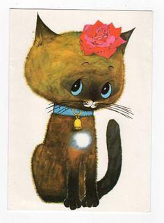 VINTAGE GREETINGS CARD, SWEET CAT,ANTHONY BROWNE,GORDON FRASER,1976
