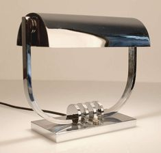 French Art Deco Banker Desk Lamp Chrome Modernist Machine Age Design, 1930s | From a unique collection of antique and modern table lamps at https://www.1stdibs.com/furniture/lighting/table-lamps/