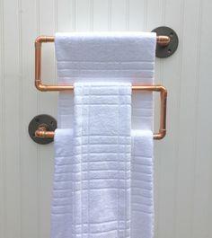 Industrial Copper Pipe Towel Rack, Towel Bar, Modern Industrial Steampunk Design, Modern Decor, Copper Bathroom Accessories, Kitchen Rack by MacAndLexie on Etsy https://www.etsy.com/listing/239094823/industrial-copper-pipe-towel-rack-towel