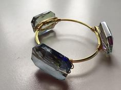 Crystal wire bangle with large rectangle crystals- only $18 A must for summer! handmade by #WineAndWires on Etsy