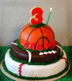 Easton's 3rd Birthday Sports Ball Cake
