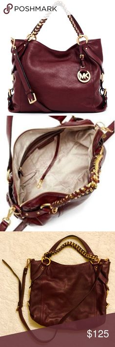 """Michael Kors Large Tristan Shoulder Tote/Crossbody Gently used MICHAEL KORS Tristan Bordeaux Red Tote/Crossbody Purse with brass gold hardware Measurements: 12.5"""" High 14"""" Long Permanent carry handles (one leather; one chain) give a 6"""" drop Removable leather shoulder strap = up to a 23"""" drop Open top entry slip pocket Top magnetic clasp entry to main cabin Inside: zipper pocket; 4 slip pockets ✨ Comes from a pet-free, smoke-free home ✨ Sorry no trades but will listen to all fair offers…"""