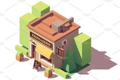 Vector isometric cheese shop #isometric#Vector#cheese#Illustrations
